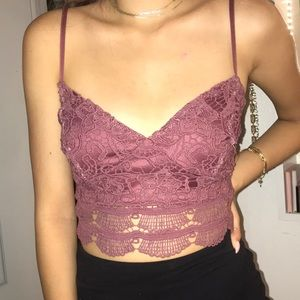 Rosy mauve lace top